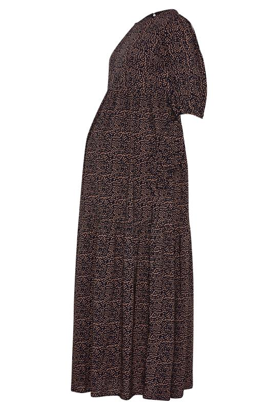 LTS Maternity Navy Speckled Smock Maxi Dress_F.jpg