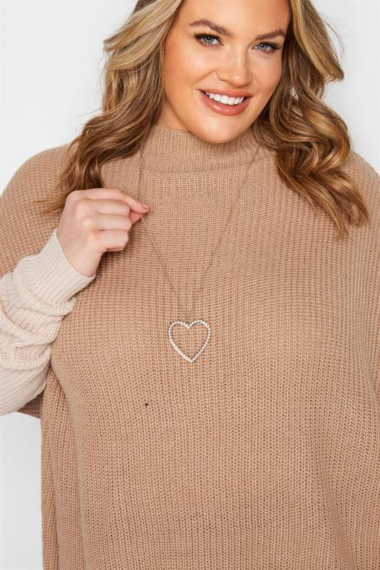 Plus Size  Gold Tone Pearl Heart Pendant Necklace