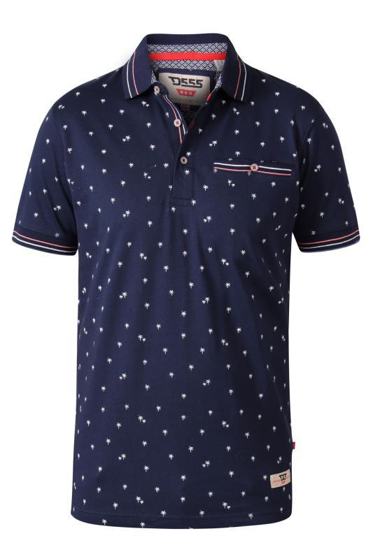 D555 Navy Palm Tree Print Polo Shirt