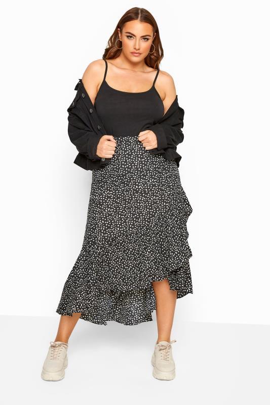 Plus Size Midi Skirts LIMITED COLLECTION Black Dalmatian Print Frill Skirt