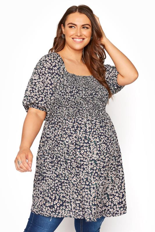 Plus Size  BUMP IT UP MATERNITY Ditsy Shirred Bodice Top