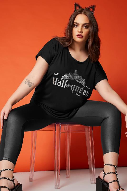 Black Foil 'Halloqueen' Slogan Top