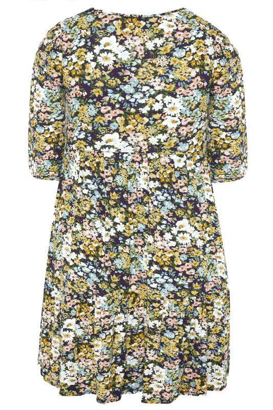 YOURS LONDON Multi Floral Print Tiered Dress_BK.jpg