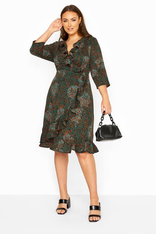 Plus Size  YOURS LONDON Green Animal Print Wrap Dress