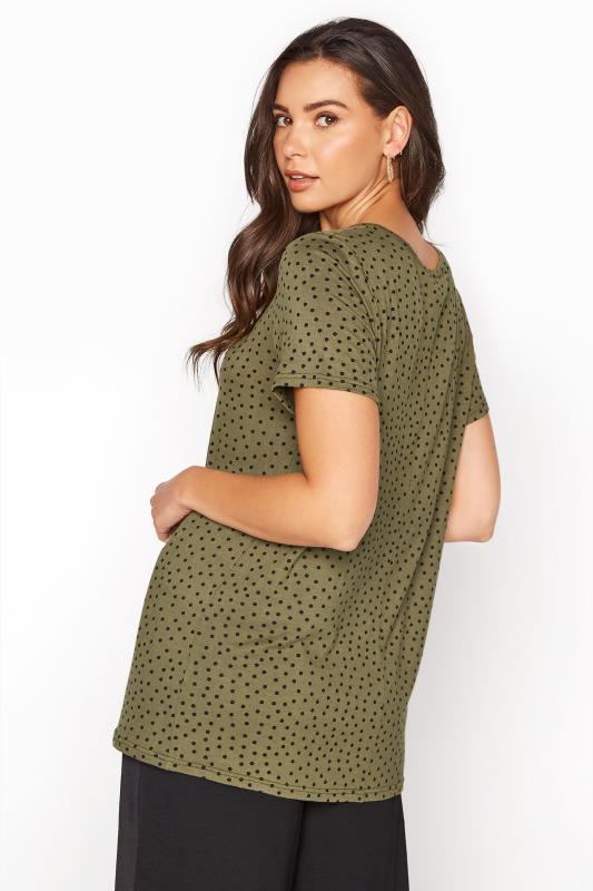 LTS Khaki Polka Dot Print T-Shirt_C.jpg