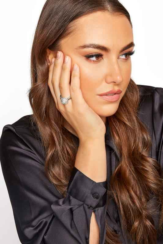 Plus Size  Silver Diamante Solitaire Stretch Ring
