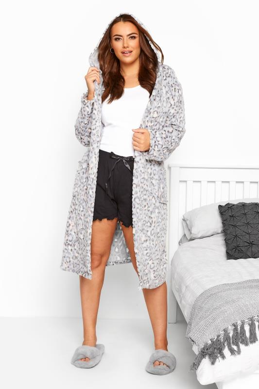 Grey Animal Embossed Dressing Gown