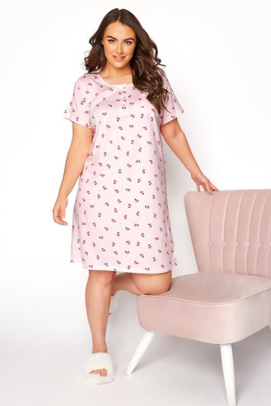 Plus Size  Pink Cherry Placket Nightdress