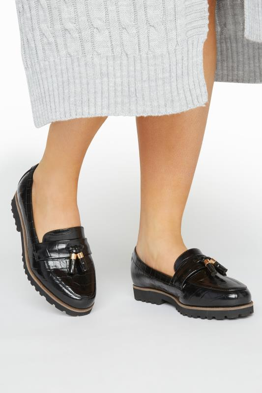Yours LIMITED COLLECTION Black Croc Tassel Loafers In Extra Wide Fit