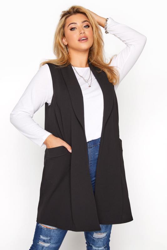 Grande Taille Black Sleeveless Blazer