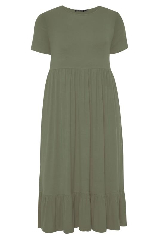 LIMITED COLLECTION Khaki Tiered Maxi Smock Dress
