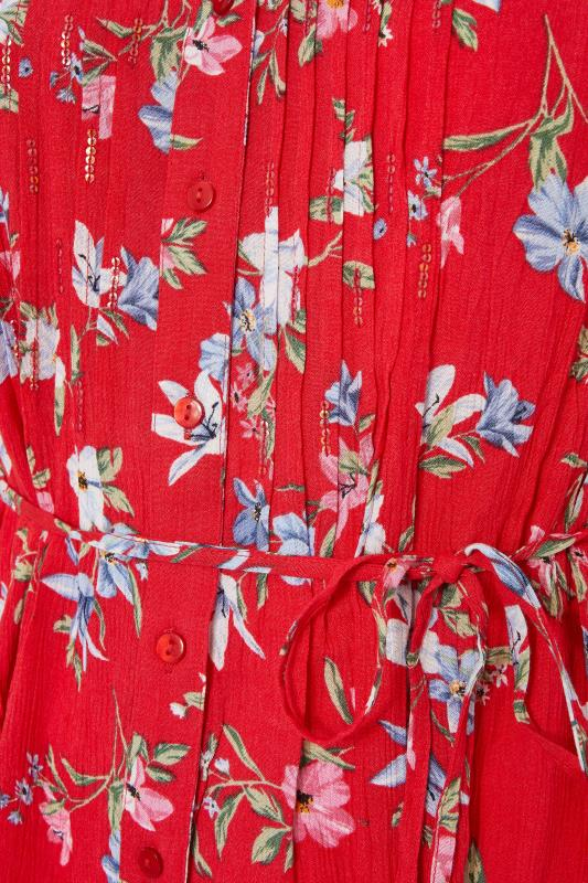 Red Floral Pintuck Belted Tie Shirt_s.jpg