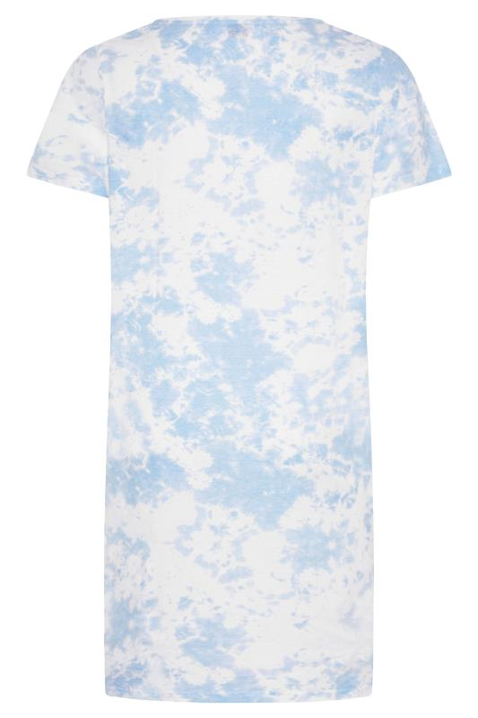 Light Blue Tie Dye Varsity 'Brunch' Dipped Hem Nightdress_BK.jpg