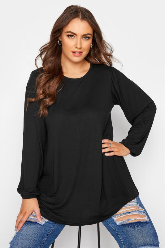 Plus Size  LIMITED COLLECTION Black Balloon Sleeve Swing Top