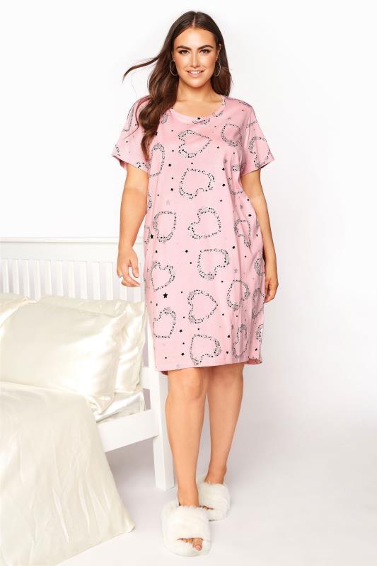 Plus Size  Blush Pink Star and Heart Nightdress