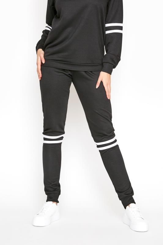 LTS Black Varsity Stripe Co-ord Joggers