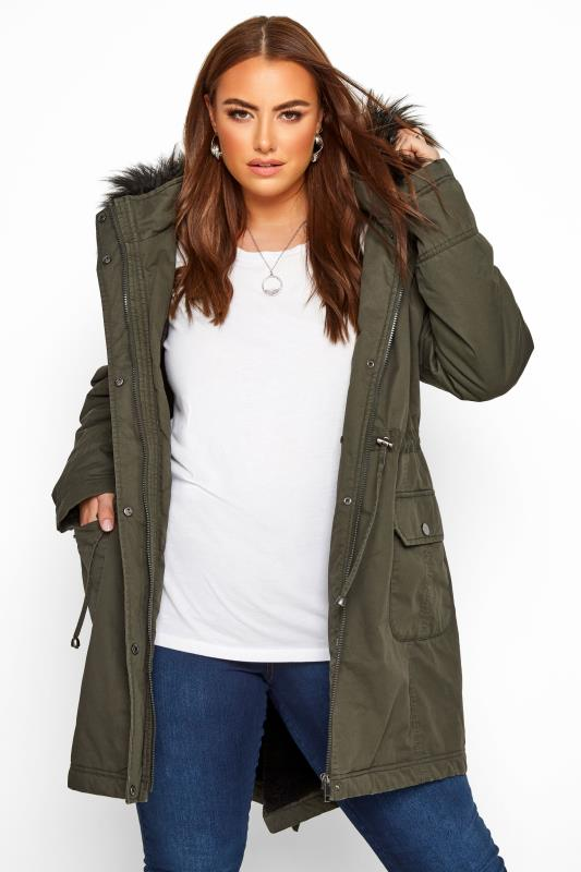 Plus Size Jackets Khaki Fleece Lined Faux Fur Trim Parka Jacket