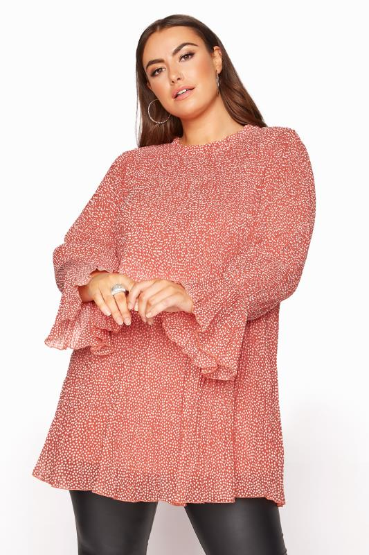 Plus Size  YOURS LONDON Pink Polka Dot Flared Sleeve Blouse