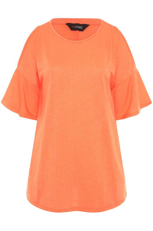 Bright Coral Cold Shoulder T-Shirt_F.jpg