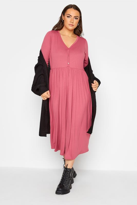 LIMITED COLLECTION Pink Button Midaxi Dress_B.jpg