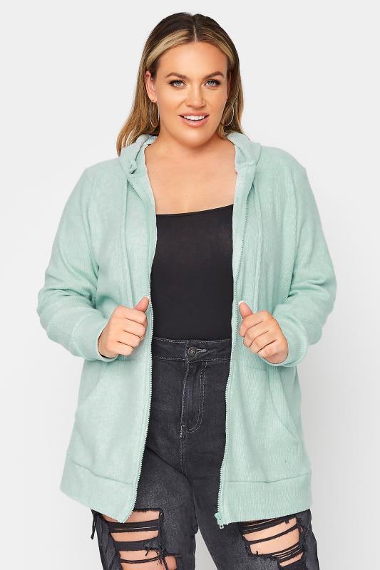 Plus Size  Mint Green Zip Through Hoodie