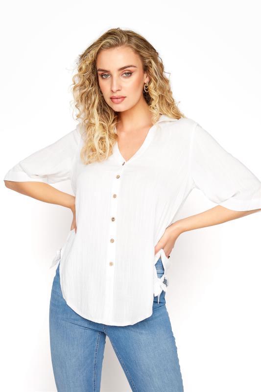 Tall  LTS White Curved Hem Shirt