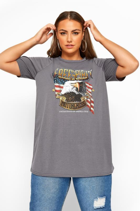 Plus Size Day Tops LIMITED COLLECTION Grey 'Free Spirit' Eagle T-Shirt
