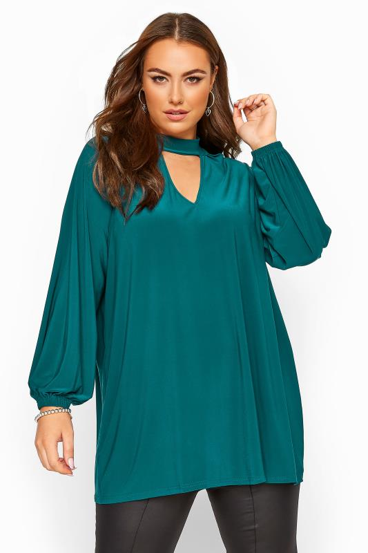 Plus Size Party Tops YOURS LONDON Teal Blue Slinky Choker Top