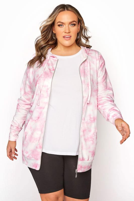 Plus Size  Pink Tie Dye Zip Hoodie