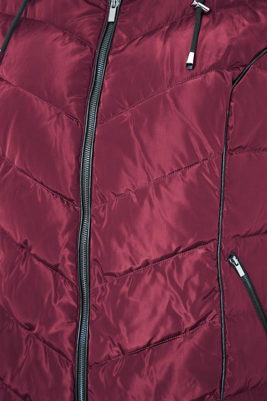 Red PU Trim Panelled Puffer Jacket_S.jpg