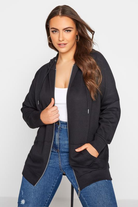 Grande Taille Black Basic Zip Through Hoodie