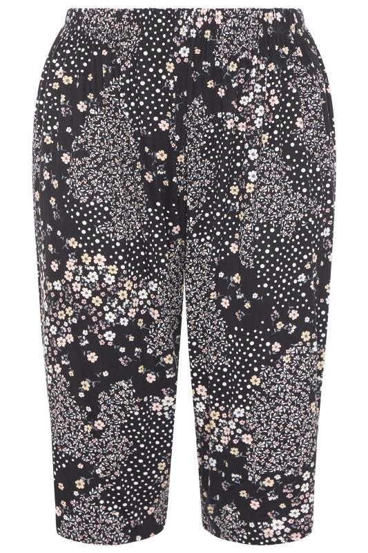 Plus Size  LIMITED COLLECTION Black Ditsy Cropped Lounge Trousers