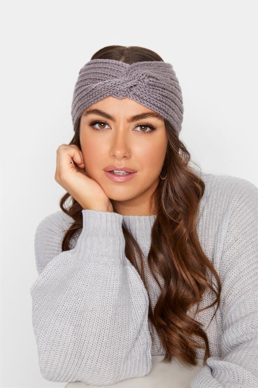 Plus Size  Grey Knitted Twist Headband