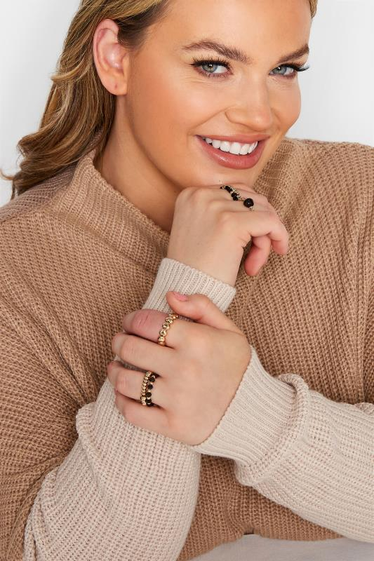 Plus Size  6 PACK Gold Tone Stretch Rings