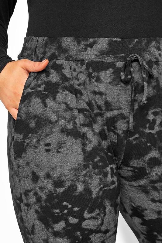 Grey Tie Dye Jersey Drawcord Harem Trousers