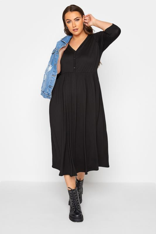 LIMITED COLLECTION Black Button Midaxi Dress_B.jpg