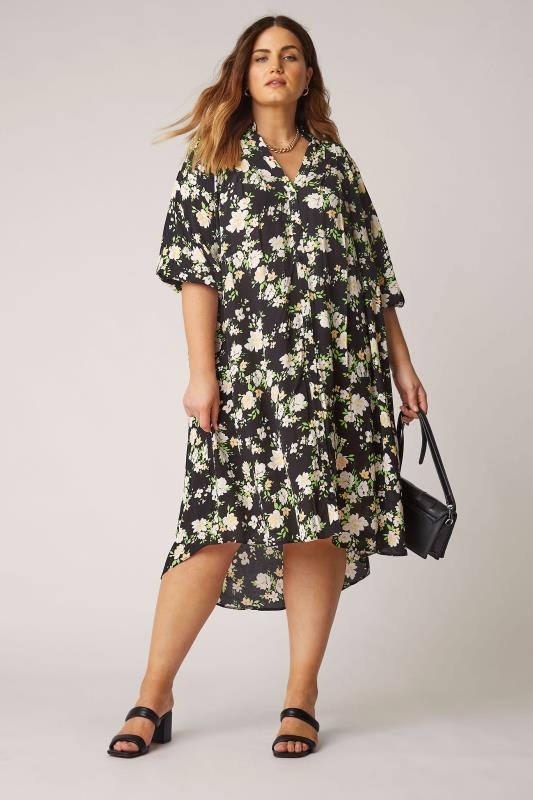 THE LIMITED EDIT Black Floral Pleated Dress_B.jpg