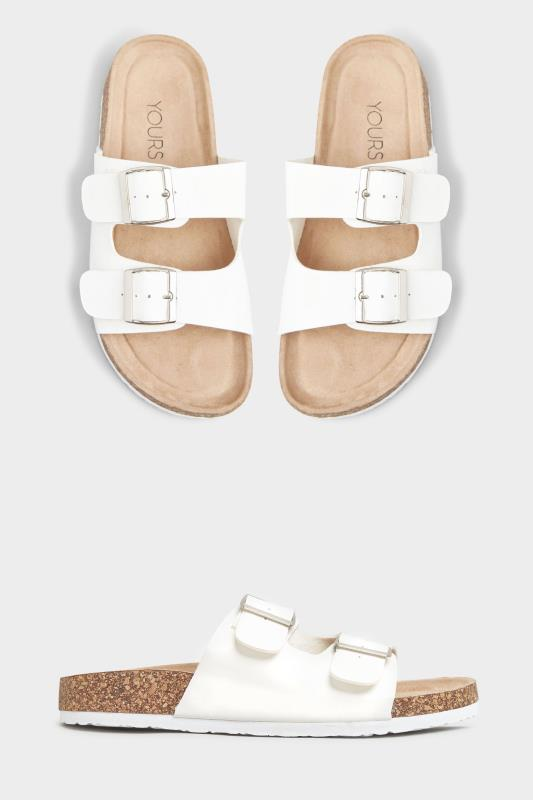 White Buckle Strap Footbed Sandals In Extra Wide Fit
