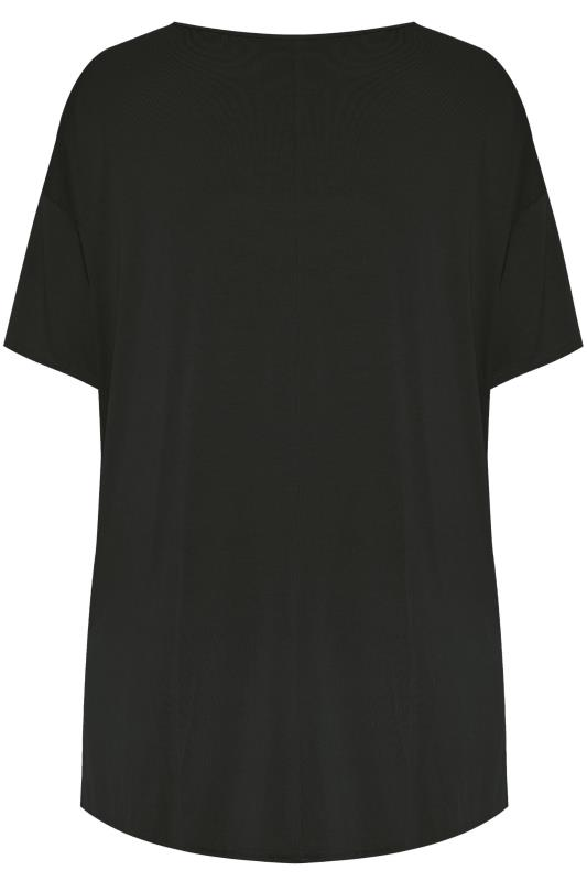 LIMITED COLLECTION Black Dipped Hem Drop Shoulder T-Shirt