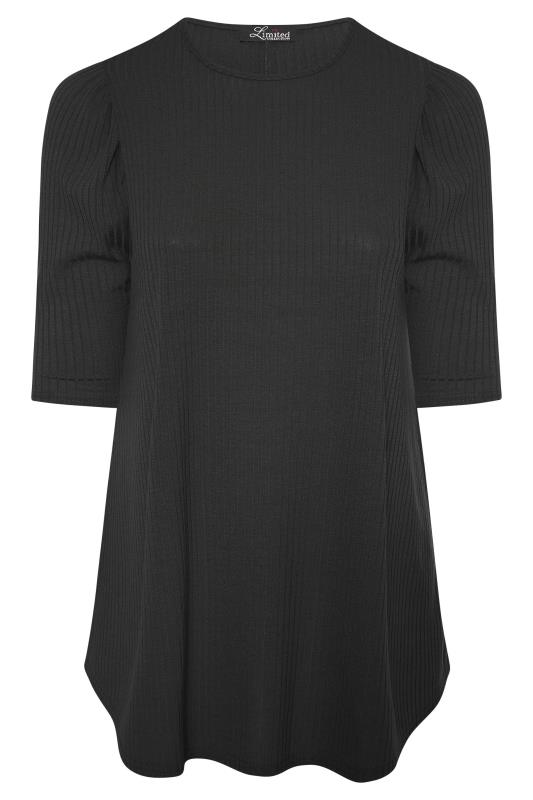 LIMITED COLLECTION Black Puff Sleeve Ribbed Top_F.jpg