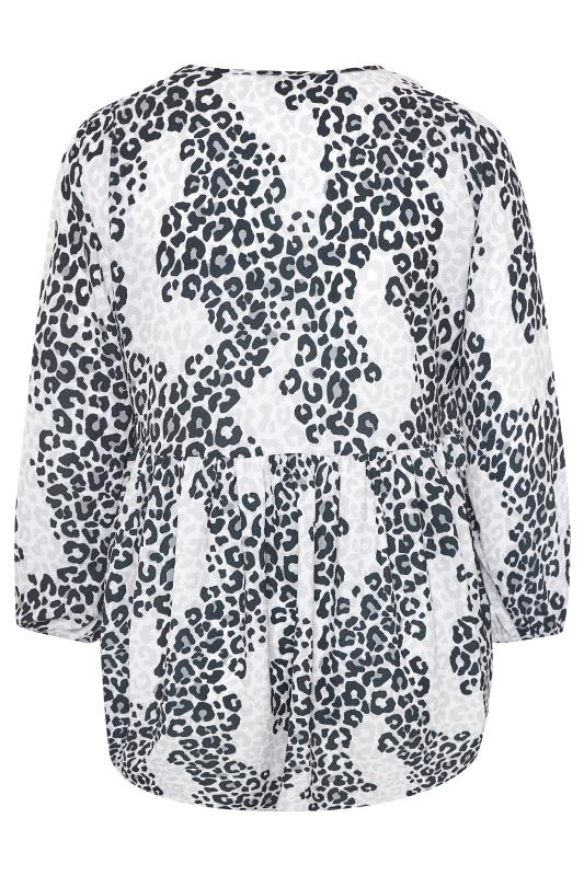 LIMITED COLLECTION Grey & White Leopard Print Frill Blouse