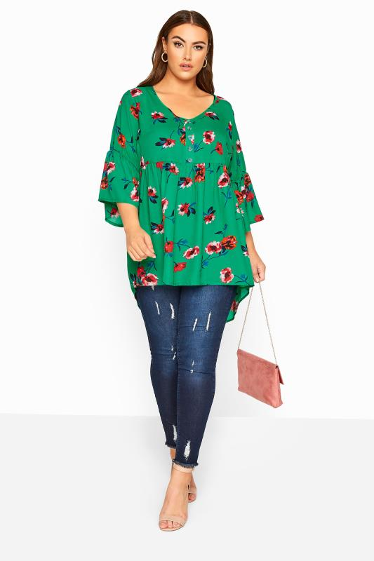 Emerald Green Floral Dipped Hem Smock Top