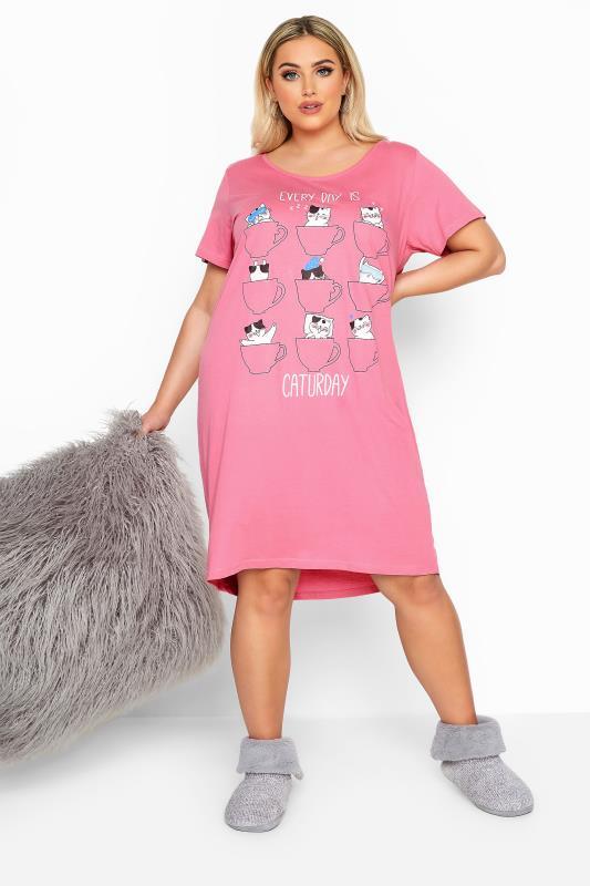 Nightdresses & Chemises  Pink Glitter Caturday Slogan Nightdress