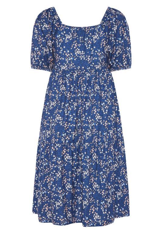 Blue Ditsy Print Square Neck Smock Midaxi Dress_BK.jpg