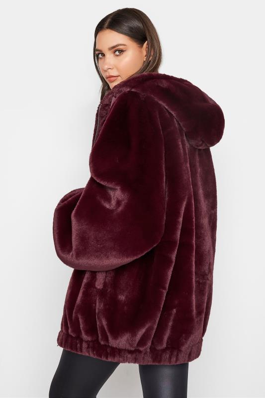 LTS Wine Red Oversized Faux Fur Jacket_C.jpg