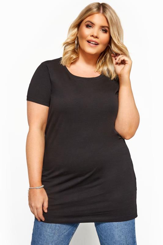 Lang t-shirt in zwart