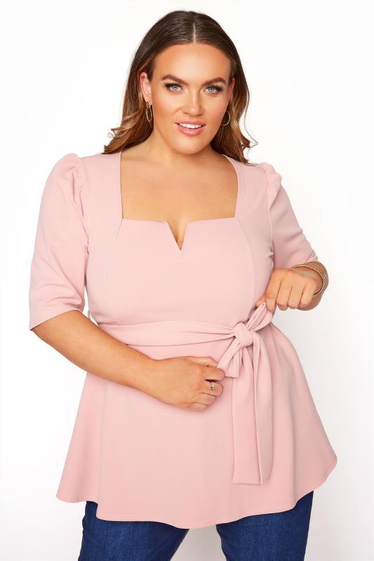 YOURS LONDON Blush Pink Notch Neck Puff Sleeve Peplum Top_A.jpg