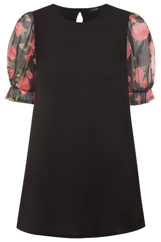 Plus Size Floral Tops Black Floral Mesh Puff Sleeve Top