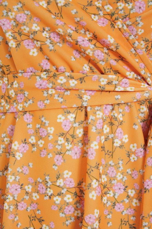 YOURS LONDON Orange Ditsy Floral Puff Sleeve Wrap Top_S.jpg