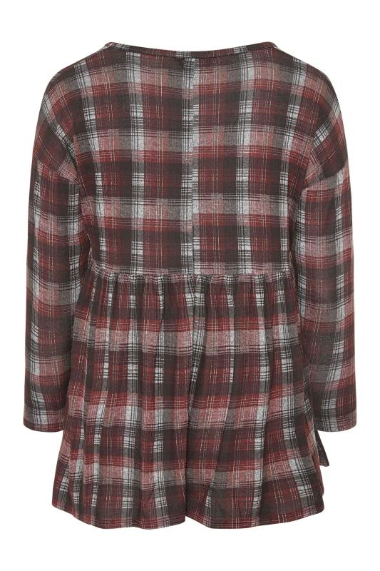 Red & Grey Knitted Check Smock Top_BK.jpg